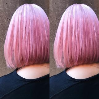 ピンク ピンクアッシュ ストリート ボブ ヘアスタイルや髪型の写真・画像