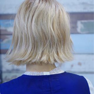 切りっぱなし 外国人風 ミディアム ストリート ヘアスタイルや髪型の写真・画像