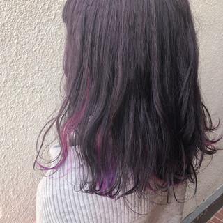 アンニュイほつれヘア ナチュラル インナーカラー ミディアム ヘアスタイルや髪型の写真・画像
