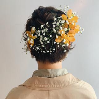 簡単ヘアアレンジ ヘアアレンジ ショート ナチュラル ヘアスタイルや髪型の写真・画像 ヘアスタイルや髪型の写真・画像