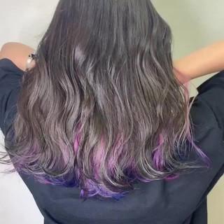 髪質改善 セミロング パーマ ユニコーンカラー ヘアスタイルや髪型の写真・画像