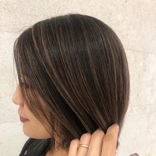 モード ハイライト ボブ 大人ハイライト ヘアスタイルや髪型の写真・画像 ヘアスタイルや髪型の写真・画像