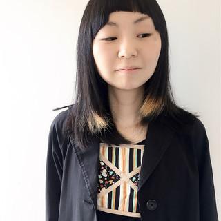 黒髪 ハイライト セミロング モード ヘアスタイルや髪型の写真・画像