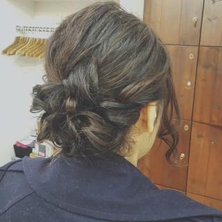 ナチュラル ゆるふわ 結婚式 ミディアム ヘアスタイルや髪型の写真・画像