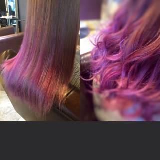 ピンク ストリート レッド ロング ヘアスタイルや髪型の写真・画像