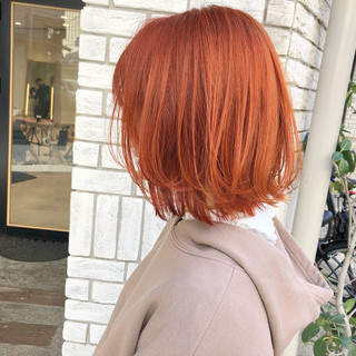 オレンジ ストリート レイヤーカット レイヤーボブ ヘアスタイルや髪型の写真・画像