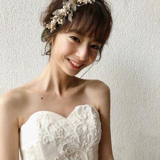 大人かわいい 結婚式ヘアアレンジ ゆるナチュラル ミディアム ヘアスタイルや髪型の写真・画像
