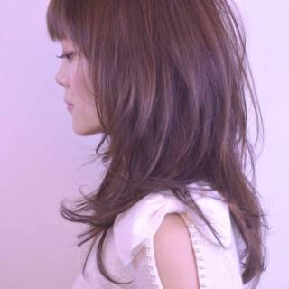 ピンク コンサバ 大人かわいい セミロング ヘアスタイルや髪型の写真・画像