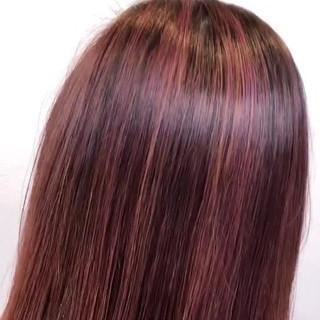 ブリーチカラー エアータッチ ピンク ミディアム ヘアスタイルや髪型の写真・画像