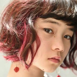 外国人風 ウェーブ アンニュイ ボブ ヘアスタイルや髪型の写真・画像