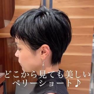 ショート ショートボブ 黒髪 ショートヘア ヘアスタイルや髪型の写真・画像
