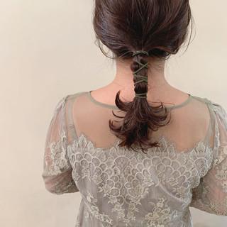 セミロング 結婚式 簡単ヘアアレンジ アンニュイほつれヘア ヘアスタイルや髪型の写真・画像