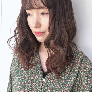 ミルクティーベージュ ヘアアレンジ セミロング パーマ ヘアスタイルや髪型の写真・画像 ヘアスタイルや髪型の写真・画像