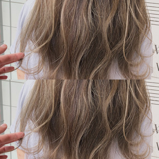 ハイライト ゆるふわ 大人かわいい 前髪あり ヘアスタイルや髪型の写真・画像