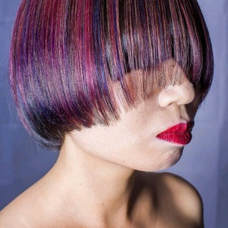 グラデーションカラー ボブ 暗髪 モード ヘアスタイルや髪型の写真・画像