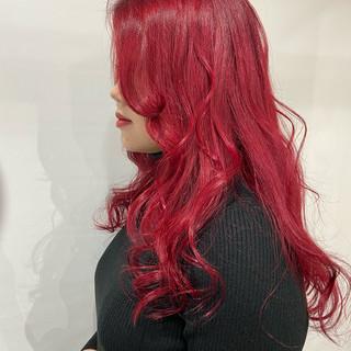 モード ロング 赤髪 ヘアスタイルや髪型の写真・画像