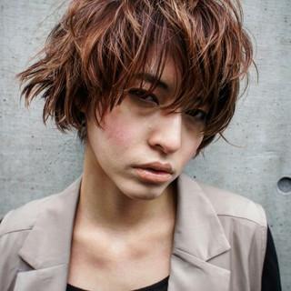 ショート ボブ パーマ ハイライト ヘアスタイルや髪型の写真・画像