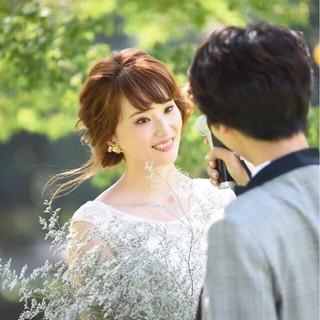 ミディアム ブライダル 花嫁 ヘアアレンジ ヘアスタイルや髪型の写真・画像 ヘアスタイルや髪型の写真・画像