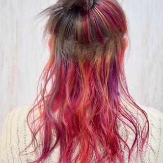 ガーリー ラズベリーピンク ピンクパープル ピンク ヘアスタイルや髪型の写真・画像