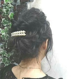 セミロング ゆるふわ ヘアアレンジ 結婚式 ヘアスタイルや髪型の写真・画像