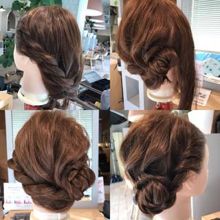 ヘアアレンジ 簡単ヘアアレンジ 編み込み ナチュラル ヘアスタイルや髪型の写真・画像