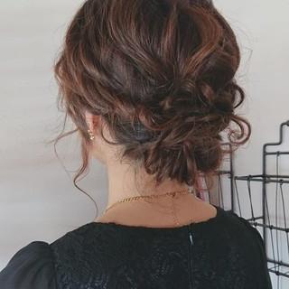フェミニン ヘアアレンジ セミロング 可愛い ヘアスタイルや髪型の写真・画像