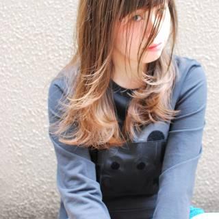 シースルーバング パンク セミロング ストリート ヘアスタイルや髪型の写真・画像