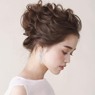 セミロング パーティ 結婚式 大人かわいい ヘアスタイルや髪型の写真・画像