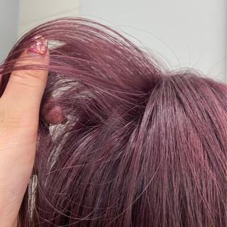 ラベンダーピンク 切りっぱなしボブ ボブ フェミニン ヘアスタイルや髪型の写真・画像