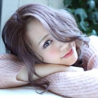 ピンク モテ髪 ゆるふわ レッド ヘアスタイルや髪型の写真・画像