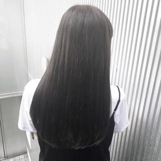 アッシュ グレージュ セミロング 前髪 ヘアスタイルや髪型の写真・画像