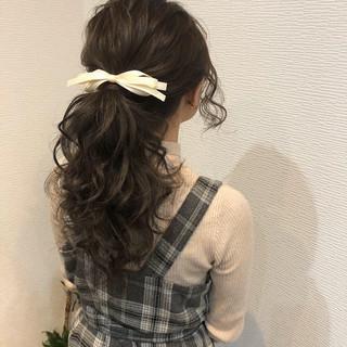 ポニーテール 結婚式 アップ ガーリー ヘアスタイルや髪型の写真・画像