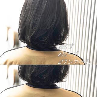 ボブ スモーキーカラー グレージュ アッシュ ヘアスタイルや髪型の写真・画像