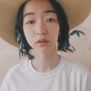ナチュラル 簡単ヘアアレンジ ヘアアレンジ ミディアム ヘアスタイルや髪型の写真・画像