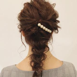 編み込み セミロング ロング ヘアアレンジ ヘアスタイルや髪型の写真・画像