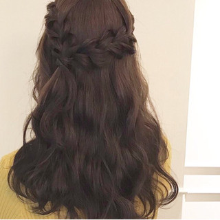 ヘアアレンジ フェミニン 三つ編み ハーフアップ ヘアスタイルや髪型の写真・画像