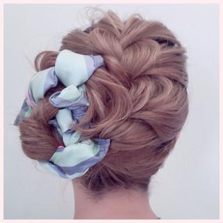 三つ編み ショート ヘアアレンジ 編み込み ヘアスタイルや髪型の写真・画像