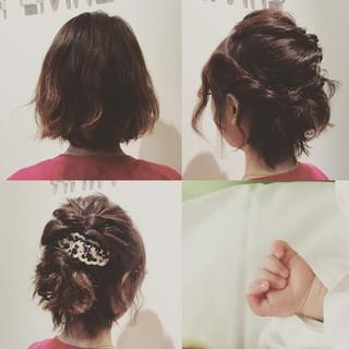 簡単ヘアアレンジ 結婚式 ショート パーティ ヘアスタイルや髪型の写真・画像 ヘアスタイルや髪型の写真・画像