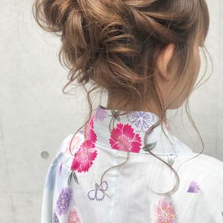 花火大会 ヘアアレンジ デート ミディアム ヘアスタイルや髪型の写真・画像