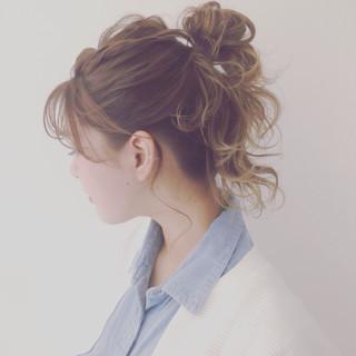 セミロング お団子 ショート 簡単ヘアアレンジ ヘアスタイルや髪型の写真・画像