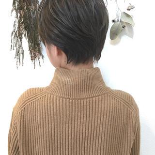 ナチュラル グレージュ 秋冬ショート 小顔ショート ヘアスタイルや髪型の写真・画像