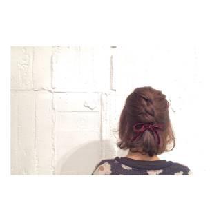 ヘアアレンジ ボブ 簡単ヘアアレンジ ロープ編み ヘアスタイルや髪型の写真・画像