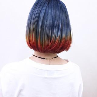 ハイトーン モード ボブ グラデーションカラー ヘアスタイルや髪型の写真・画像