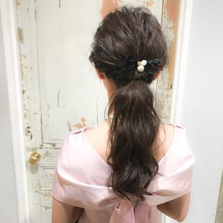 ロング 簡単ヘアアレンジ 結婚式 デート ヘアスタイルや髪型の写真・画像