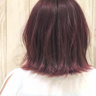 ピンク ガーリー ピンクアッシュ ミディアム ヘアスタイルや髪型の写真・画像