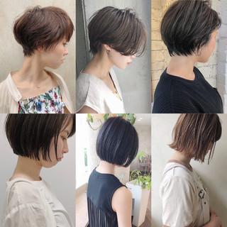 切りっぱなしボブ ミニボブ ショート ベリーショート ヘアスタイルや髪型の写真・画像