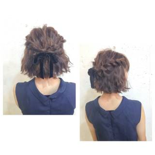 簡単ヘアアレンジ ショート ウェーブ ストリート ヘアスタイルや髪型の写真・画像