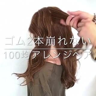 セミロング アウトドア ヘアアレンジ フェミニン ヘアスタイルや髪型の写真・画像