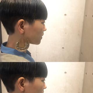 ハイライト アッシュ モード ショート ヘアスタイルや髪型の写真・画像