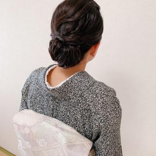 訪問着 着物 黒髪 結婚式 ヘアスタイルや髪型の写真・画像